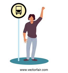 man cartoon at the bus stop vector design