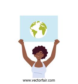 black woman cartoon holding banner board with world vector design