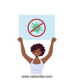 black woman cartoon holding banner with stop covid 19 virus vector design