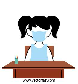 girl with face mask at school desk