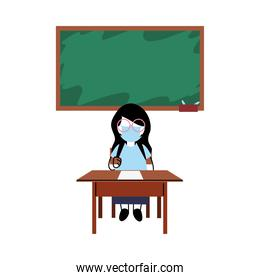 girl with mask on desk in classroom