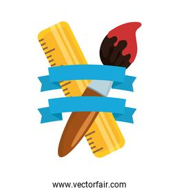 paint brush and rule tools isolated icon