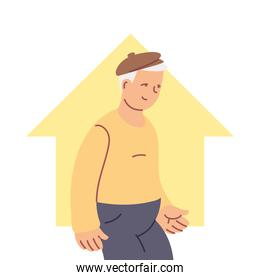 grandfather old man smiling at home cartoon