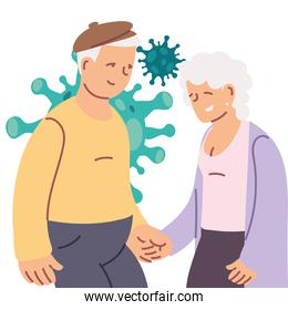 elderly couple smiling and virus covid-19