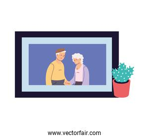 portrait of grandparents smiling at home