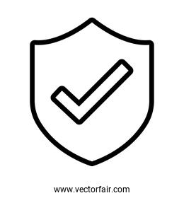shield secure and check symbol line style icon
