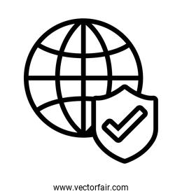 sphere with shield secure and check symbol line style icon