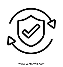 shield secure and check symbol and arrows line style icon