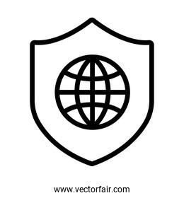 shield secure with sphere browser line style icon