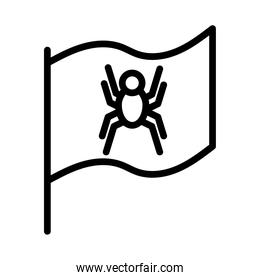 flag with spider security line style icon