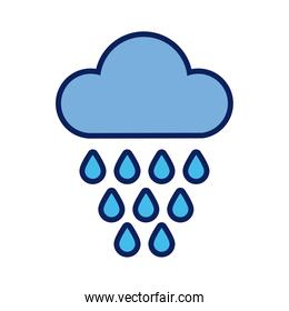cloud with rain drops line and fill style icon