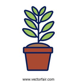 growth plant in ceramic pot line and fill style icon