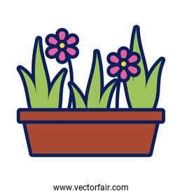 flower growth plant in ceramic pot line and fill style icon
