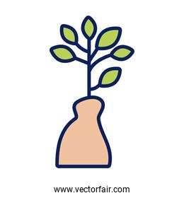 growth plant in bag line and fill style icon