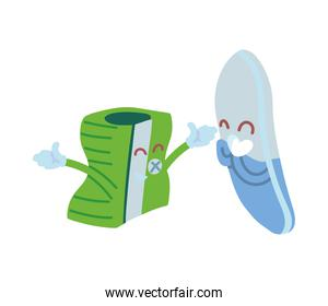 pencil sharpener and eraser with happy face cartoon