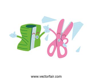 pencil sharpener and scissors with happy face cartoon