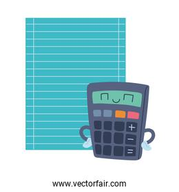 calculator and paper sheet with happy face cartoon
