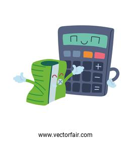 pencil sharpener and calculator with happy face cartoon