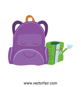 pencil sharpener and suitcase with happy face cartoon