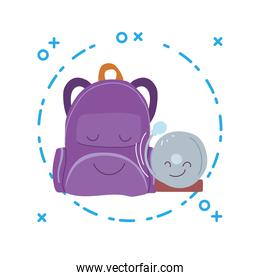 suitcase and alarm with happy faces