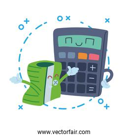 calculator and sharpener with happy face cartoon