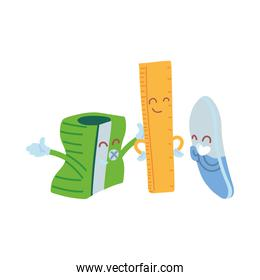 pencil sharpener, ruler and eraser with happy face cartoon
