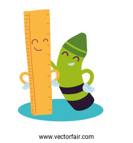 ruler and crayon with happy face cartoon