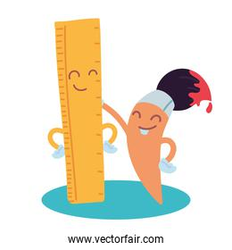 ruler and brush with happy face cartoon