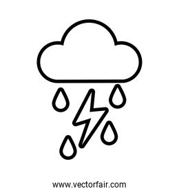 cloud with rain drops and thunder line style icon