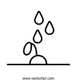 growth plant with drops line style icon