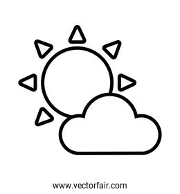 cloud and sun line style icon