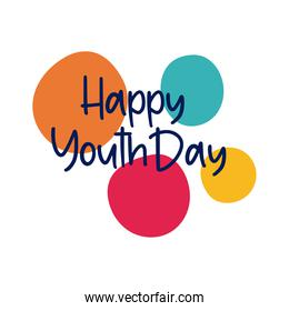 happy youth day lettering with colors balls flat style