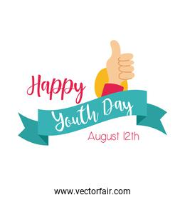happy youth day lettering with hand like symbol flat style