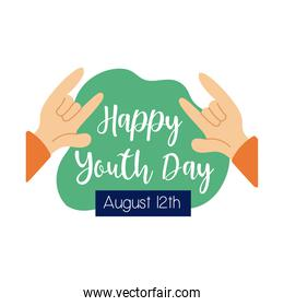 happy youth day lettering with hands rock and roll symbol flat style