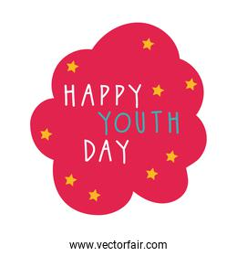happy youth day in cloud flat style