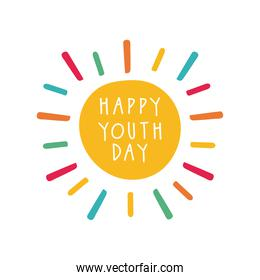 happy youth day lettering with burst flat style