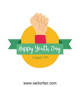 happy youth day lettering with hand fist symbol flat style