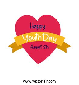 happy youth day lettering in heart flat style