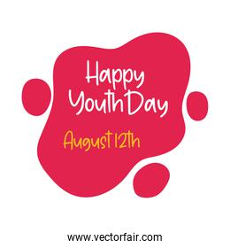 happy youth day lettering in cloud flat style