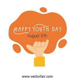 happy youth day lettering with hand rock and roll symbol flat style