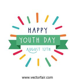 happy youth day lettering with ribbon frame flat style