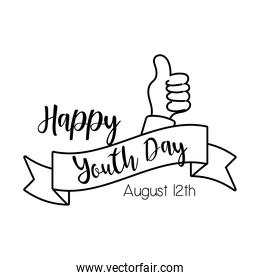 happy youth day lettering with hand like symbol line style