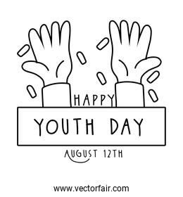 happy youth day lettering with hands symbols line style