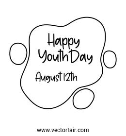 happy youth day lettering in cloud line style