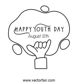 happy youth day lettering with hand rock and roll symbol line style