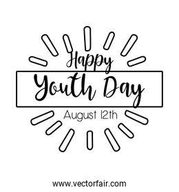 happy youth day lettering with burst line style