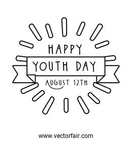 happy youth day lettering with ribbon frame line style