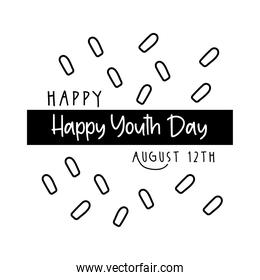 happy youth day lettering with confetti line style