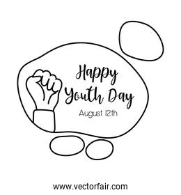 happy youth day lettering with hand fist symbol line style