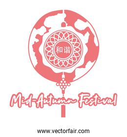 mid autumn festival card with decorations hanging and moon line style icon